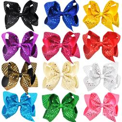 12 Color 6 Inch Bling Bling Hair Bow Clip Kid Child Hair Acc
