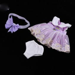 16inch Dolls Lace Dress Skirt Underpants Headband For 40cm S