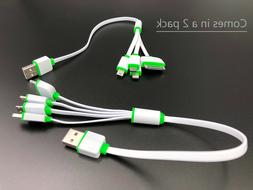 2 pack 4 in 1 Multi USB Charger Charging Cable For Cell Phon
