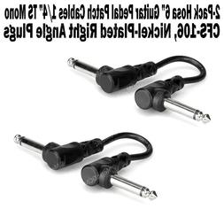 """2-Pack Hosa 6 Inch Guitar Pedal Right Angle Patch Cable 1/4"""""""