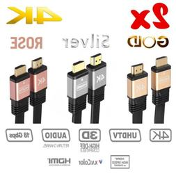2 Pcs Ultra HD Speed HDMI V2.0 Cable HDTV LED 3D 2160P 4K X2
