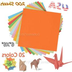 200 Sheets 6 inch Double Sided Origami Paper 20 Vibrant Colo