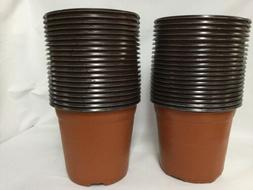 YIKUSH 6 Inch 40 Pack Plastic Nursery Pots for Seeding Flowe