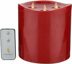 Luminara 6 inch Triple Wick Pillar Candle with Remote - Red