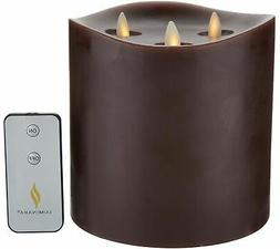 Luminara 6 inch Triple Wick Pillar Candle with Remote - Choc