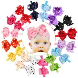 6 Inches 16 Lot Baby Girl Big Bow Headbands Mix Colors Hair