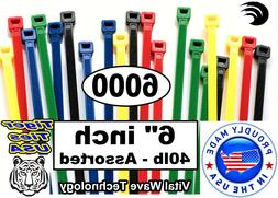 """6000 ASSORTED 6"""" inch Wire Cable Ties Nylon Tie Wraps 40lb U"""