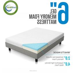 LUCID 6 Inch Memory Foam Mattress - Dual-Layered - CertiPUR-