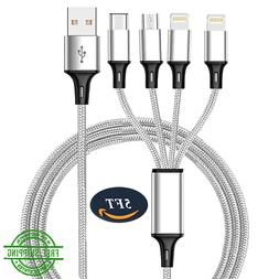 Multi USB Charger Cable 4 In 1 5ft Type C Lightning Cord Cha