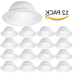 "12 Pack - 6"" Inch White Baffle Recessed Can Light Trim"
