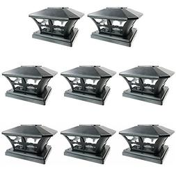 iGlow 8 Pack Black Outdoor Garden 6 x 6 Solar SMD LED Post D