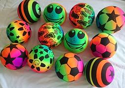 12 pcs Rainbow Sport 6 inches Bouncing Ball Neon Color Rubbe