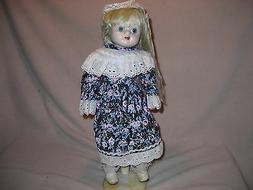 CALICO DRESSED PORCELAIN DOLL - 16 INCH - WITH STAND