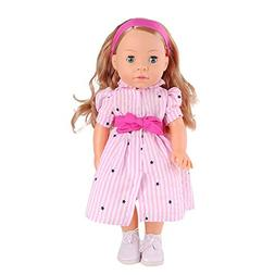 MeiMei 16 inch Girl Doll with Light Brown Hair Blue Eyes Ful