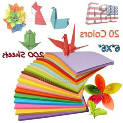 Double Sided Origami Paper 20 Vibrant Colors 200 Sheets 6 in
