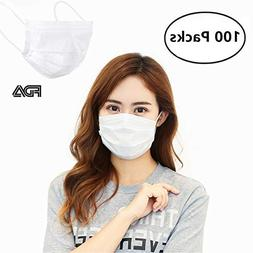 100 Pcs Earloop Disposable Surgical Face Flu Masks, 3-Ply Su