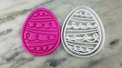 Easter Egg Cookie Cutter 2-Piece, Outline & Stamp #7 Easter