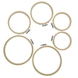 Pistha Embroidery Hoops, 6pcs 3 Sizes Round Bamboo Cross Sti