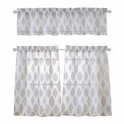 Mysky Home Fashion 3 Pieces Jacquard Kitchen Sheer Tier Curt