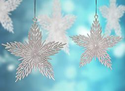 Glitter Christmas Ornaments - Pack of 12 Iridescent 6 inch S