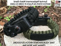 Green Camo Black Survival Paracord Watch Band for Smartwatch