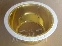 "6"" Inch Recessed Ceiling Can Light Trim Golden Smooth Shiny"