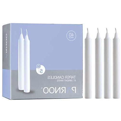 Light In The Dark Set of 40 Unscented White Taper Candles 6