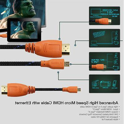 Braided 3FT Micro HDMI Cable + 6 Inches USB 2.0 Type A Micro USB Cable