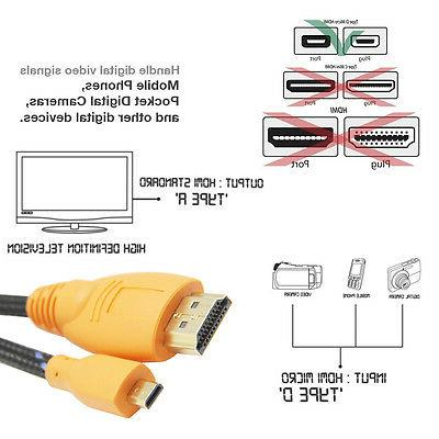 Braided to Micro Cable + 6 Inches USB Type A - Micro USB Cable