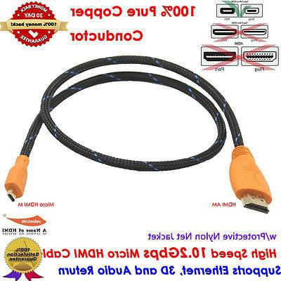 Braided 3FT HDMI to Micro HDMI + 6 USB Type USB Cable