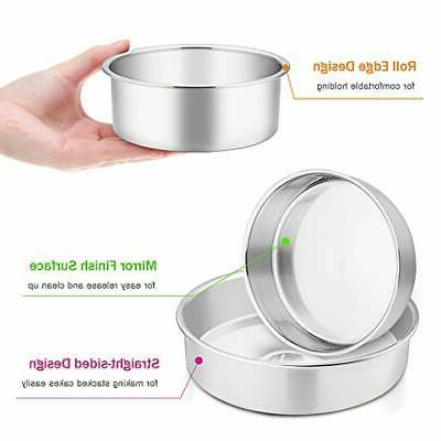 Cake Pan Set 3 Stainless Steel Round