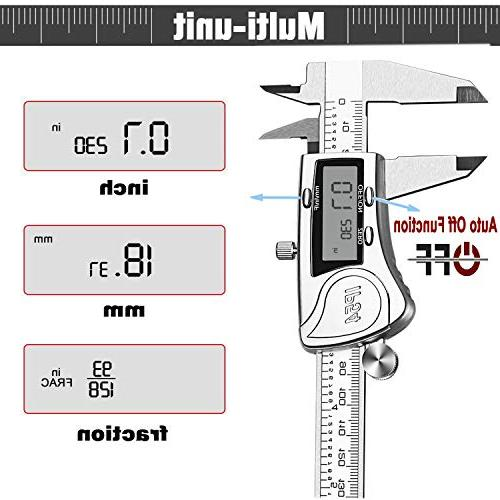TENGYES Micrometer - Stainless Vernier Calipers 6 inch/150 mm, Waterproof Accurate Measuring with Large LCD Millimeter Conversion
