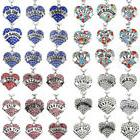 Charm Necklace Pendant Jewelry Pink Clear Blue Crystal Heart