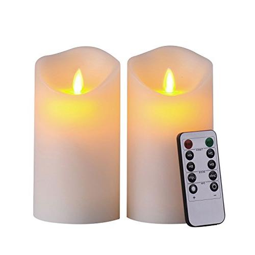 Ivory Color Classic Pillar Moving Flame Real Wax Candles