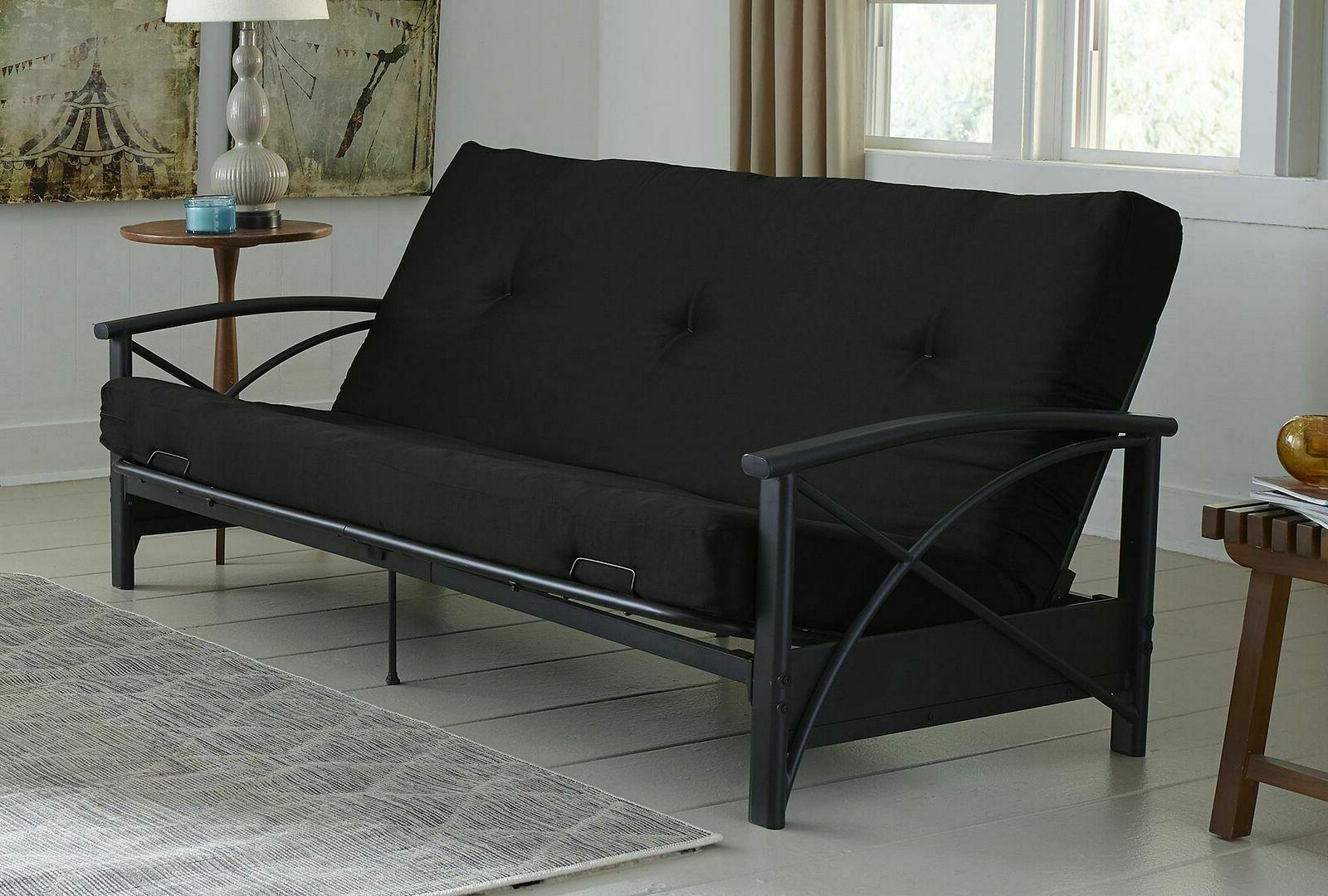 futon mattress black tufted double