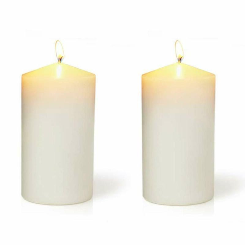 Ivory Pillar Candles Set Of 2 Unscented 6 Inch Tall 3 Thick