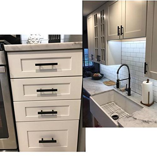 """Kitchen Furniture 3.75"""" Hole Centers Pulls - Peaha Modern Square Pulls Black Stainless Steel Length 10"""