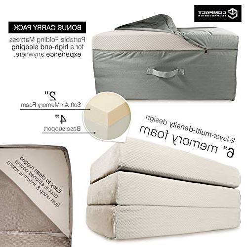 Portable Mattress - Guest Fold w/Case | Tri-Fold Away Floor, Futon & Camp Cot Fast Trifold Foldable Comfort