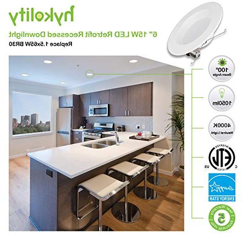 Hykolity 12 Inch 15W Dimmable Retrofit Recessed 4000K Neutral ETL, Energy Star, BR30