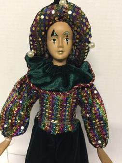 Mardi Gras Doll Jester 16 Inch With Stand Vintage With Tag C