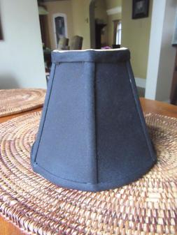 "New  Chandelier Lamp Shades 6 inch x 5""  Black Silk with Gol"