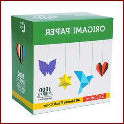 "Origami Paper 1000 Sheets 6"" Square Double Sided Color 25 Vi"