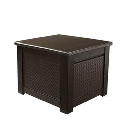 Rubbermaid Cube Patio Chic Outdoor Storage, Dark Teak Basket