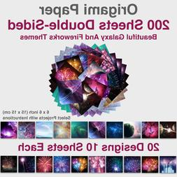 Galaxy/Fireworks Origami Paper 6x6 inch Double Sided 200 pcs