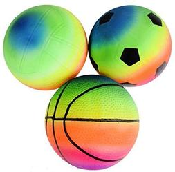 "6"" Rainbow Sports Balls - 3 Pack Great for indoor and outdoo"