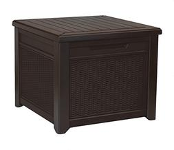 Keter 55 Gallon Outdoor Rattan Style Storage Cube Patio Tabl