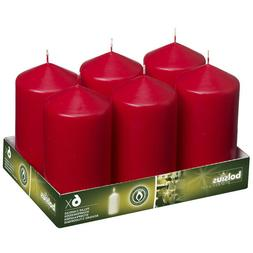"Christmas Red Pillar Candles 3x6"" Set Of 6 For Party, Weddin"