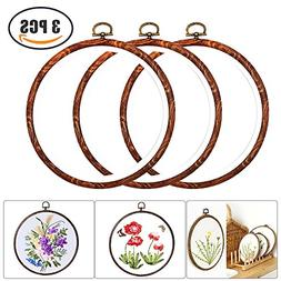 3 Pieces 6 inch Round Embroidery Hoops Bulk Imitated Wood Ci