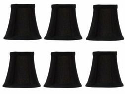 Set Of 6 Chandelier Lamp Shades 6 inch Black Silk with Gold