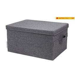 Bigso Soft Storage Box with Lid, Large, Grey